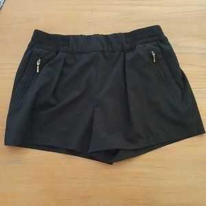 Zara pull on black shorts with gold zipper detail